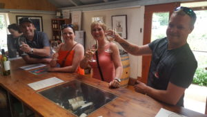 A group of 4 wine tasting at Coriole Vineyards.